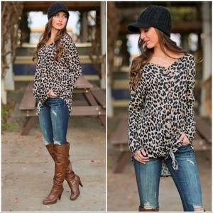 Leopard Print Tie Front Tunic